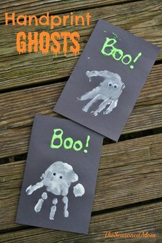 Halloween Craft for Kids: Handprint Ghosts #halloweencrafts