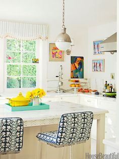 Bright and Beachy...love the kitchen stools!