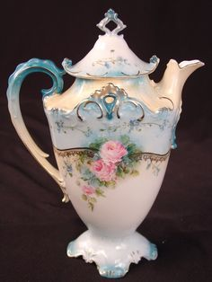 Unsigned RS Prussia Tea Pot, blue with pink flowers