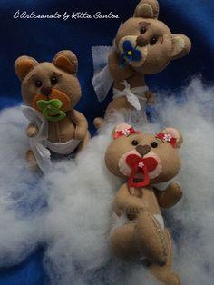 Turminha Baby Ursos by Litta Santos Em feltro  Visite: o blog http://littasantos.blogspot.com.br a fanpage: https://www.facebook.com/e.artesanato.by.litta.santos