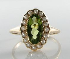 QUALITY 9CT GOLD PERIDOT & PEARL ART DECO INS CLUSTER RING FREE SIZE #Cluster