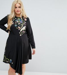 de0d4d96c5 ASOS CURVE Pretty Embroidered Skater Dress - Black Mini Skater Dress