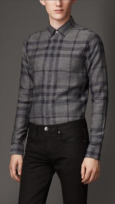Burberry London Slim Fit Check Cotton Shirt