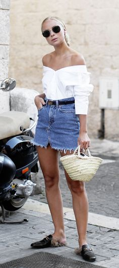 summer outfit ideas with straw bag | short denim skirt
