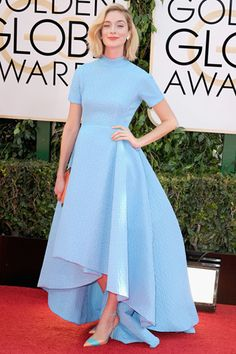 Caitlin FitzGerald, in Emilia Wickstead, with an Anya Hindmarch clutch.
