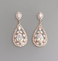 Rose Gold Bridal Earrings Crystal Teardrop by BeFrostedBridal