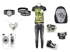 """band merch outfit for school ^~^"" by nina-fluffin-radke ❤ liked on Polyvore featuring Converse"