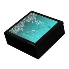 Shop Damask Turquoise Wedding Gift Box created by Digitalbcon. Wedding Gift Boxes, Custom Wedding Gifts, Wedding Favors, Gift Box Design, Golden Oak, Keepsake Boxes, Blue Wedding, Wedding Accessories, Damask