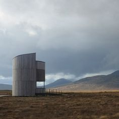 This cylindrical, larch-clad observation tower by Icosis Architects provides an elevated vantage point over picturesque bogland and night skies in Scotland