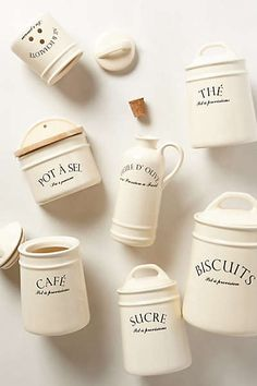 Bistro Canisters by Anthropologie Ivory from Anthropologie. Shop more products from Anthropologie on Wanelo. French Kitchen Decor, Country Kitchen, Bistro Kitchen, Condo Kitchen, Kitchen Reno, Diy Kitchen, Kitchen Dining, French Bistro, French Cafe