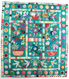 """""""Flower Pots"""", 2012, pattern by Kim McLean, hand-appliqué, hand-quilted,"""