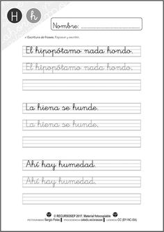 cartilla-lectura-recursosep-letra-h-ficha5 Handwriting, Lettering, Language, Education, Alba, Infant Activities, Early Education, Creative Writing For Kids, Writing Folders