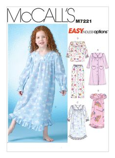 Children's Girl's Nightgown, Pants with Top -McCall's Sewing pattern #M7221-New Uncut by flyingdollar on Etsy