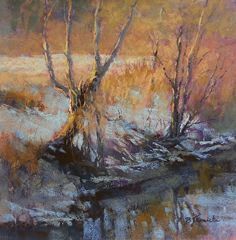 Winter Evening Magic Hour by Barbara Jaenicke Pastel ~ 12 x 12""
