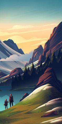 Artistic Wallpaper, Graphic Wallpaper, Wallpaper Space, Anime Scenery Wallpaper, Beautiful Nature Wallpaper, Landscape Wallpaper, Fantasy Landscape, Landscape Art, Landscape Illustration