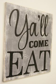 nice Y'all Come Eat Wood Sign Kitchen Sign Dining Room Sign Vintage Wall Decor Farmhouse Sign Housewarming Gift Wedding Gift Southern Wall Decor by www.top100-home-d…