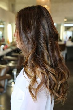 Dark Hair With Caramel Highlights - Warm reds and coppers- Brown red and soft copper are chosen as warm color.