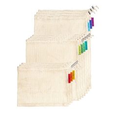 Reusable Produce Bags | Natural Cotton Mesh is Biodegradable | Machine Washable | Tare Weight on Label | Strong Double-Stitched Seams | Set of 10 (3 Small, 4 Medium, 3 Large)