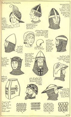 The Mode in Hats and Headdress: A Historical Survey | 198 plates by R. Turner Wilcox:  Chapter 8 - European Helmets - Plate 1/2