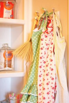 Got my aprons ready for some cookin'! #pantry #aprons #vintage