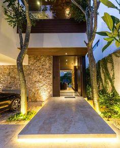 Casa abierta is a Project for a couple of my dearest friends. Entrance Design, House Entrance, Design Exterior, Home Interior Design, Lobby Interior, Interior Paint, Luxury Interior, Future House, Modern House Design