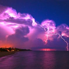 Powerful Nature - clouds, coast, lightning, sky, Thunderstorm. I've seen storms like this in the keys.