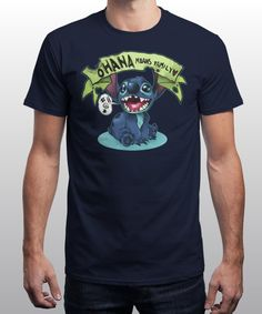 """""""ohana"""" is today's £8/€10/$12 tee for 24 hours only on www.Qwertee.com Pin this for a chance to win a FREE TEE this weekend. Follow us on pinterest.com/qwertee for a second! Thanks:)"""