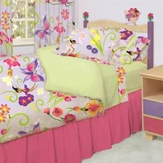 Room Magic - RM08-MG Garden Kids Duvet Cover Set - Girls will love this adorable designer fabric full of flower-fairies and butterflies.      IncludesA twin duvet cover, ruffled bed skirt and sham Available in Twin size in the finest 100% Cotton.      Note: Nightstand, sheets, bed, and window panels sold separately