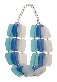 3 Row Blue Chunky Bead Necklace - maurices.com