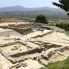Overview of the minoan palace of phaistos on the island of crete in greece.