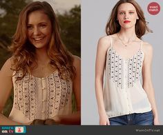Elena's white embroidered button front top on The Vampire Diaries.  Outfit Details: http://wornontv.net/39334/ #TheVampireDiaries