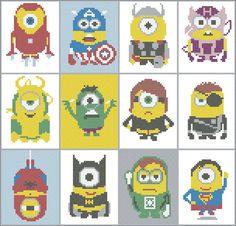 BOGO FREE Superheroes MINIONS Cross Stitch Pattern pdf