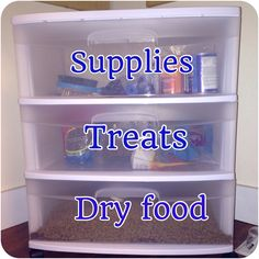 Organized dog stuff-except that i would never be able to fit all my dry food in a little drawer its in a massive storage container. But the treats and supplies would be great!!