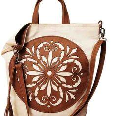 torba rozeta wykonana z płótna kolorze lekko kremowym, oraz karmelowej eko skóry w KuferArt.pl