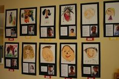 the studio: the annual art show - Preschool-Kindergarten Reggio Inspired Classrooms, Reggio Classroom, Classroom Displays, Preschool Classroom, Preschool Art Display, Portraits Pastel, Ecole Art, Kindergarten Art, Kindergarten Self Portraits