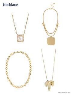 four square gold necklaces/pendants