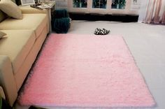 Super Soft Modern Shag Area Silky Smooth Rugs Living Room Carpet Bedroom Rug for Children Play Solid Home Decorator Floor Rug and Carpets 4 Feet By 5 Feet Pink >>> Want additional info? Click on the image.
