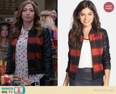 Gina's red checked bomber jacket with leather sleeves on Brooklyn Nine-Nine.  Outfit Details: http://wornontv.net/38634/ #Brooklyn99