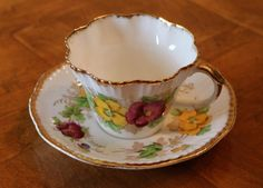 "Salisbury English Fine Bone China ""Pansy"" Purple and Yellow Floral Pattern Teacup and Saucer Set"