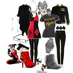 """Casual Cosplay- Batman & Harley Quinn"" except the heels Batman Outfits, Emo Outfits, Cute Outfits, Rock Outfits, Party Outfits, Superman Outfit, Fandom Fashion, Geek Fashion, Disney Fashion"