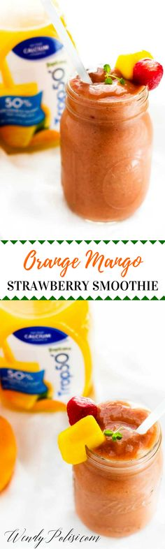Orange Mango Strawberry Smoothie - Looking for an easy breakfast recipe or snack?  This Orange Mango Strawberry Smoothie is the perfect addition to your day! I'm kick-starting 2017 off right with a healthy breakfast that includes @Trop50. I love having fun with smoothie recipes that includes great tasting Trop50 with 50% less sugar and calories. #ad #Trop50FreshStart
