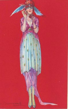 1 of 2 original art deco fashion chromolithgraph 1921 post cards - found at Flapper Fashion, Fashion 1920s, Art Projects For Teens, Art Journal Pages, Healthy Chicken Recipes, Vintage Advertisements, Art Deco Fashion, Painting Inspiration, Food Print