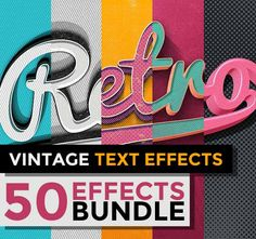 50 Vintage Text Effects Web Design, Graphic Design Tips, Retro Design, Tool Design, Retro Typography, Typography Design, Business Design, Business Branding, Silhouette Fonts