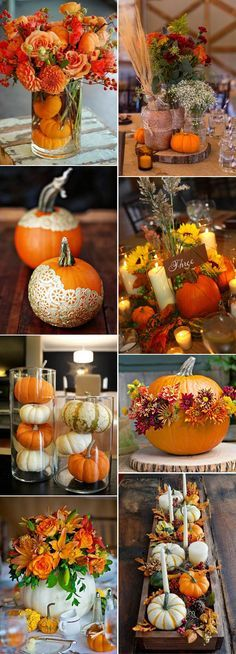 pumpkin fall wedding centerpieces ideas More