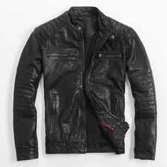 Find More Leather & Suede Information about Men's Leather Jacket Sheep Skin… Fashion leather articles at 60 % wholesale discount prices Best Leather Jackets, Leather Jacket Outfits, Men's Leather Jacket, Jacket Men, Mens Fashion Wear, Men's Fashion, Revival Clothing, Zx 10r, Coat Stands