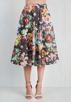 Painted Posies Skirt. You feel like a fashion masterpiece in this painterly floral skirt by Chi Chi London. #black #modcloth
