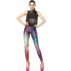 Multi Color Rosy Galaxy Print Leggings ($19) ❤ liked on Polyvore featuring pants, leggings, multi, mesh-panel leggings, galaxy leggings, stretchy leggings, galaxy pants and cosmic leggings