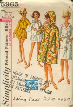 Simplicity 5965; ©1965; Misses' Robe in Two Lengths: Simple-to-Sew. Regular length or short length robe has long raglan sleeves and pockets. V.'s 1& 2 have a collar and a self fabric tie belt. V.'s 3& 4 have a hood, button and buttonhole. [insert your photos of this pattern made up]