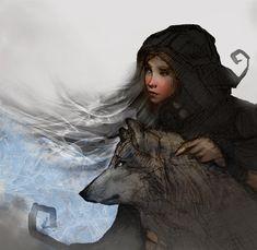 Girl and Wolf by mattforsyth
