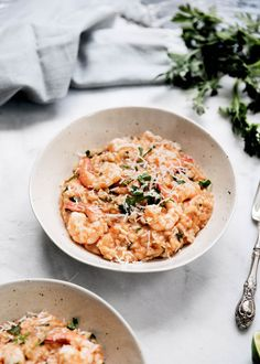 Risotto is my favorite comfort dish to make. This one includes late summer tomatoes, shrimp, and a healthy dose of parmesan!
